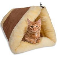2-en-1 cama del animal doméstico del gato túnel paño grueso y suave del tubo del amortiguador de la estera del cojín de la perrera del perro para cajón Casa