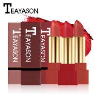 TEAYASON Marca Impermeable Mate Lápiz Labial Lápiz Labial Para Mujeres de Larga Duración Batom Bálsamo de Terciopelo Rojo Oscuro Rouce a Levre Natural Maquillaje Lip Stick