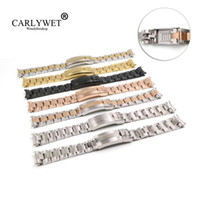 CARLYWET 20mm Solid Curved End Screw Links Glide Lock Clasp Steel Watch Band Bracelet For GMT OYSTER Style