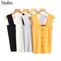 Vadim Women Chic Solido colletto quadrato con bottoni sul retro senza maniche Canotta decorare Slim Fit donna casual camicette Wa287 Y19062501