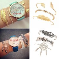 15 Styles Women Fashion Bracelets Bohemian Leaves Multi- laye...