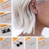 Mode Gold Silber Überzogene Schwarze Punk Einfache T Bar / Dreieck / Quadrat Ohrringe Für Frauen Ohrstecker Ohrringe Edlen Schmuck Minimalistischen Ohrringe