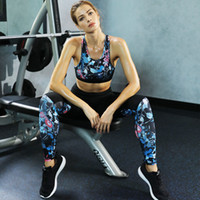 ZC-26 Floral Print Leggings sin costuras + Sujetador con tiras 2 Unids Yoga Set Mujeres Gym Fitness Ropa Yoga Leggings Set Correr ropa deportiva