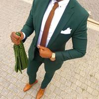 Yeşil Adam İş Blazers Erkekler Düğün Damat Smokin Takım Elbise Çentikli Yaka Slim Fit Terno Masculino Kostüm Homme 2 Adet Ceket Pantolon