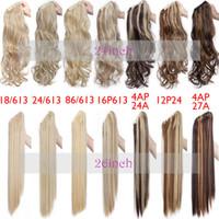 여성 검은 갈색 금발의 꼬리 머리 확장을위한 포니 테일 헤어 확장 가짜 포니 테일 가발에 미국 주식 직선 합성 클로