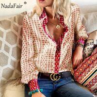 NADAFAIR Floral Vintage Blouse Satin Blouse Femmes 2019 Automne Casual Tops à manches longues Elégante Plus Taille Office Silk Blous Chemises