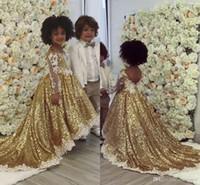 Bling Gold Pailletten Ballkleid Mädchen Pageant Kleider Sheer Langarm Applikationen Nette Partykleider für Mädchen