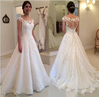 2020 Modern Lace Appliques Wedding Dresses A line Button Bac...