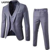 LASPERAL 3 Pieces Sets Men's Business Wear Suit + Vest + Pants Vest Sets Slim  Male Suits Wedding Party Blazers Jacket