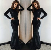 2019 Black Evening Dresses Mermaid Sexy Keyhole Neck Long Sl...