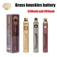 Brass Knuckles Batteri 650mAh Bra 900mAh Trä SS Vape Pen Förvärm VV Variabel spänning Batteri för 510 tjock oljekassett
