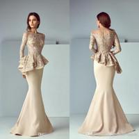 Dubai champagne pizzo raso Peplum lunghi abiti da sera abiti da cerimonia 2020 gioiello collo manica lunga Dubai arabo Mermaid Prom Dress BM0981