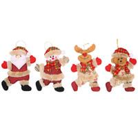 Accesorios para árboles de Navidad Pequeñas figuras Baile Viejo Muñeco de nieve Ciervo Oso Marioneta de tela Pequeño juguete Fiesta de Navidad 2019 Nuevo