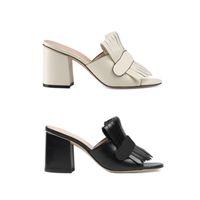Son platformu Sandalet Yaz Yüksek Topuklar kadın ayakkabılar saçak Çift tonlu Vintage orta topuk ayakkabı 15 renk ile Süet deri slayt
