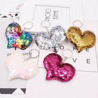 Симпатичные Сердце брелок Блеск Pompom Блестки Key Ring Подарки для женщин Llavero Chaveros Подвески автомобилей сумки Аксессуары Мода брелок