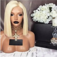 Synthetic Lace Front Wigs 613 Blonde Colored Short Bob Strai...