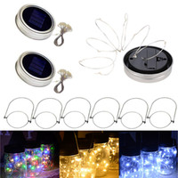 Słoneczny Dioda LED Mason Jar Zapala Pokrywa 2m 20 LED String Fairy Star Lights z uchwytami do regularnych słoików ogrodowych
