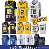 Ja Morant Murray State Racers Università 12 Ja Morant College Basketball Jersey Mens cucito 1 Zion Williamson Maglie