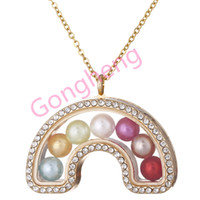 "G1443 Rainbow Pearl Käfig Gold Farbe Mit Strass Magnetic Glass Schwimm Medaillon Anhänger Frauen Charme 20 ""Halskette"