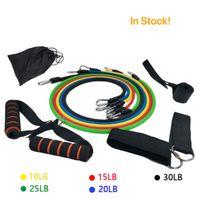 Super Strong TPR 11pcs / set Pull corde Exercices Fitness bandes de résistance Tubes Pédale Excerciser Body Training Workout élastique Yoga Band