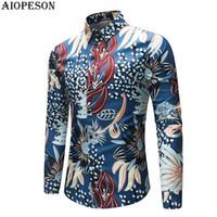 AIOPESON 2018 Nueva Primavera Verano Hombre camisa del smoking de impresión camisas de manga larga camisa de los hombres inteligentes causal Hombres tamaño de Asia M-4XL