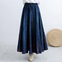 fe859d4e43 Makuluya nuevas mujeres de alta calidad de la vendimia patrón de impresión  a cuadros étnicos bohemio empalmado lunares Denim faldas largas plisadas L6