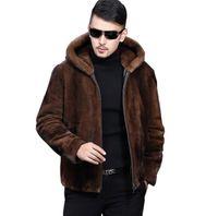 Uomo Autunno Faux Visone cappotti Giacca di pelle tuta sportiva di inverno spessa pelliccia caldo cappotto di cuoio sottile giacche con cappuccio tuta sportiva di modo solido