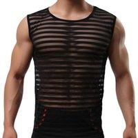 top hommes culturisme vêtements de fitness hommes sous-vêtements transparent rayé réservoir Ropa hombre ultra-mince gilet sans manches hommes de maille