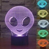 Masa Masa Sergi Salonu için LED 3D Gece Lambası Renkli Alien Şekli Dokunmatik Kontrol Işık 7 Renk değiştirme USB