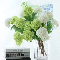 2Heads Artificial Hydrangea ball flowers white Snowball flor...