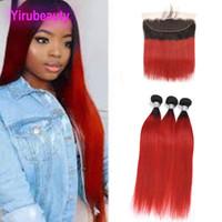 Malaysian 1b / rot Ombre Human Jungfrau Haar 3 Bündel mit 13x4 Spitze Frontal gerade Zwei Töne 1b Rote Haarfüke