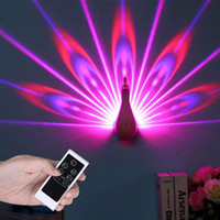 LED Wall Light Peacock Projection Lamp Remote Control Home D...