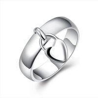 Free shipping Epacket DHL Plated sterling silver Hanging heart lock ring DHSR133 US size 6,7,8 ;women's 925 silver plate Band Rings jewelry