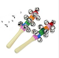 Baby Handbell Rattle Ring - Wooden Infant Toys Musical Instr...