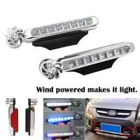 LED 풍력 전원 자동차 주간 실행 조명 8 LED 자동 장식 램프 회전 팬 없음 외부 전원 공급 장치 필요 없음