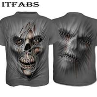 Herren O-Neck Bodybuilding Tops Slim Fit Fitness Bekleidung Bedrucktes 3D Skull T-Shirt