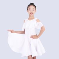 Стадия носить латинский танец костюм для девочек черно-белые / красная практика одежда соревновательные платья детей Rumba / Tango / Samba DQL1335