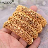 WANDO 4 Stücke Hollo Dubai Gold farbe Schmuck Armreifen Für Frauen Geschnitzte Ethnische Gold Farbe Hochzeit Armreifen Armbänder Weibliche Geschenk