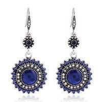 Boho Crystal Long Tassel Drop Earrings Solar Flower for Women Etnische Geometrische Sign Dangle Verklaring Oorbel Mode-sieraden EH4281