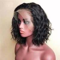 9A Ön Klumped Dantel Ön İnsan Saç Peruk Ile Bebek Saç Su Dalga Brezilyalı Bakire Kısa Bob Siyah Kadınlar Için Tam Dantel Peruk