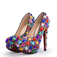 Colorato abito da sposa Scarpe Cristalli scarpe da sposa strass Diamante tacco a spillo Big di piccola dimensione multicolore Partito High Heel 3 4 5.5 pollici