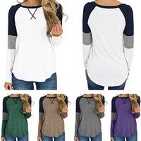 Patchwork T shirt manica lunga O-collo T-shirt Pullover Camice casuali allentati camicetta di autunno della molla Felpa Girls Abbigliamento Camicette