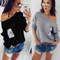 Kadınlar Casual Uzun Kollu Tek Omuz Sahte Cep Patchwork Gevşek Gömlek Batwing Kol Oversize Jumper Kazak Bluz Tops