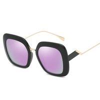 Новые женские ретро дизайнерские солнцезащитные очки ретро дизайн большое лицо квадратная рамка Золотая рамка UV400 объектив высокое качество дамы HD солнцезащитные очки с коробкой 22