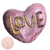 2019 Día de San Valentín Sirena de lentejuelas sirena amorosa almohada en forma de corazón colorido sofá en casa Cojín ropa de cama suministros funda de almohada mejor