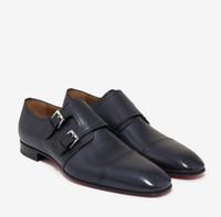 Diseño de zapatos de fondo rojo! Zapatos de vestido de novia para hombre Hombres Oxfords Mortimer Patina Patina Patina Cuero marino Monk Correa Zapatos Negro Cuero genuino