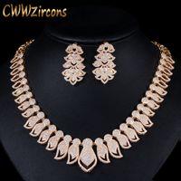 Cwwzircons جودة عالية مايكرو تمهيد زركون كبير الأفريقية دبي الذهب قلادة أقراط مجموعات مجوهرات للنساء الزفاف t238 C18122701