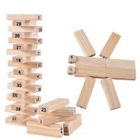 Jenga Spiel Familienbrettspiel Laubholz 54pcs digital Holz Stacking Tumbling Tower Blocks Trinkspiel Weihnachten freies Verschiffen Geschenk-Kindspielzeug