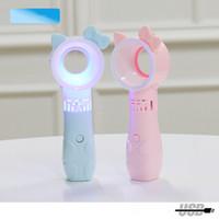 الفتيان والفتيات النمط الكوري القطة غير الوادي يده مصغرة مروحة USB المحمولة المشجعين ثلاثي الأبعاد مع الضوء
