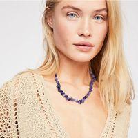 Collana di choker di pietra naturale della catena della clavicola di modo per le donne Collana di fascino di pietra irregolare collana di fascino elegante regalo